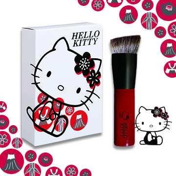 ●【粉底刷】HELLO KITTY和風紅.斜角底妝刷