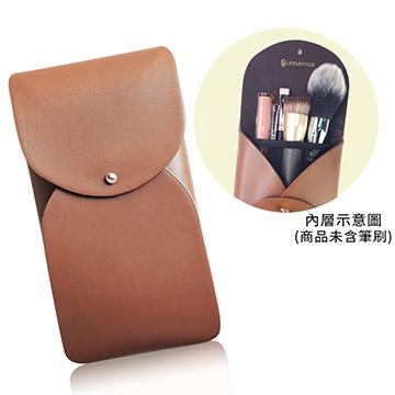 釘扣式妝品刷具兩用袋(咖),收納包,刷具包,釘扣,咖啡,網袋