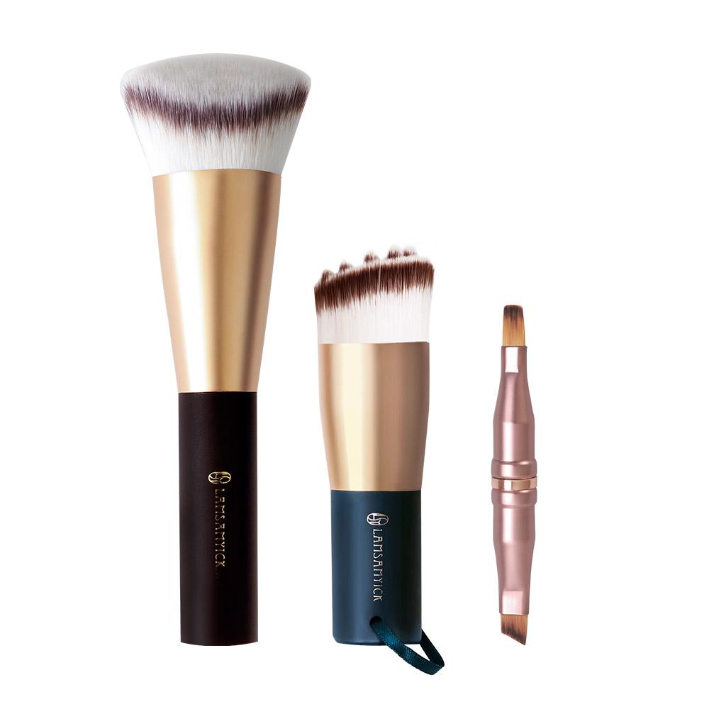 底妝潔膚組-油痘肌適用(贈雙頭刷),化纖毛,粉底,粉底刷,雙斜面粉底刷,潔顏豆豆刷